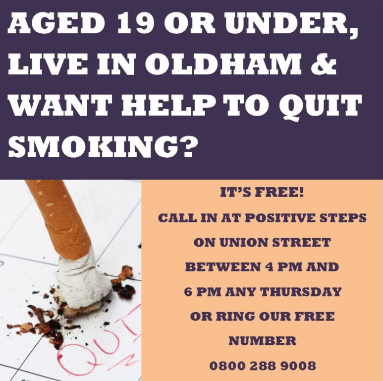 Advert for help to stop smoking if you are under 19 and live in Oldham